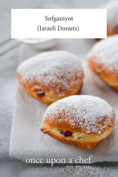TESTED & PERFECTED RECIPE -- A cross between a beignet and a jelly donut, sufganiyot are pillowy donuts that are eaten in Israel during Hanukah. Beignets, Hanukkah Food, Hannukah, Hanukkah Recipes, Donut Recipes, Dessert Recipes, Israeli Food, Israeli Desserts, Israeli Recipes