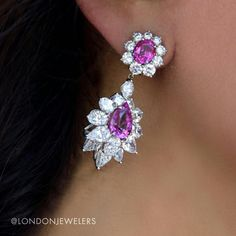 Light the night with these diamond and pink sapphire earrings from @londonjewelers! .