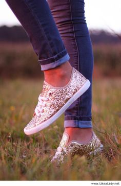 Sparkle sneakers - how cute with jeans and a plain t-shirt! Maybe buy cheap ones…                                                                                                                                                                                 More