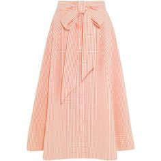 Lisa Marie Fernandez Pleated gingham cotton midi skirt ($565) via Polyvore featuring skirts, orange, checkered skirt, gingham skirt, calf length skirts, cotton midi skirt and cotton skirt