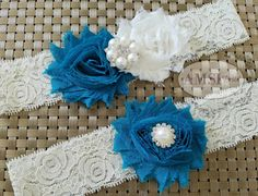 Teal wedding garters,Turquoise Garters,Ivory garters,Garters Sets,Toss lace Garter,Ivory Wedding,Garter Belt,Turquoise wedding,Custom garter