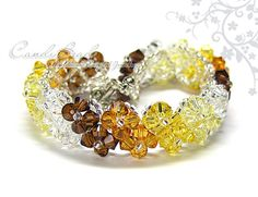Swarovski Crystal Bracelet, Brown Shade Crystal Bracelet by CandyBead