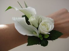Rose & Calla Wrist Corsage | Flickr - Photo Sharing! - pretty but with the…