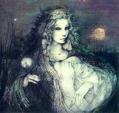 """Susan Seddon Boulet - Goddess « Rhiannon » - 1983  Déesse-mère vénérée par les Gallois, Rhiannon incarne la vie, la mort et la renaissance car, dans son royaume, la mort s'accompagne toujours d'une régénération. Son nom est dérivé de Rigantona, qui signifie """"grande reine"""". C'est aussi la déesse de la nuit"""