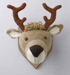 crochet taxidermy, this would be cute for a kids room Crochet Taxidermy, Crochet Deer, Faux Taxidermy, Crochet Animals, Diy Crochet, Crochet Toys, Easy Knitting Patterns, Knitting Projects, Crochet Projects