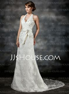 Wedding Dresses - $176.99 - A-Line/Princess Halter Court Train Satin Lace Wedding Dress With Sashes Beadwork Sequins (002011503) http://jjshouse.com/A-Line-Princess-Halter-Court-Train-Satin-Lace-Wedding-Dress-With-Sashes-Beadwork-Sequins-002011503-g11503