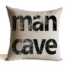 Man Cave Pillow Cushion Cover Linen Pillows Gift by AmoreBeaute