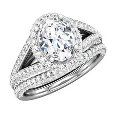 Elegant oval shape center stone diamonds halo ring is crafted in 14K white gold -  gorgeous bridal engagement set - semi mount with matching diamond band - http://www.mybridalring.com/Rings/oval-shape-split-shank-semi-mount-with-matching-diamond-band/