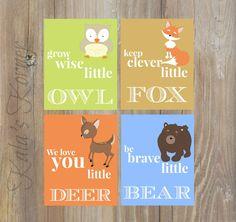 WOODLAND Nursery Wall Art, Woodland Wall Art, Birch Wood Forest Animal Deer  Owl Fox Bear Boy Bedroom Prints set of 4 8x10 by KalasKorner on Etsy