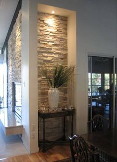 Fireplace done with Cultured Stone Southwest Blend Profit Ledgestone and Creme Marble Hearth by My ♥ ♥ ♥ Stone Interior, Interior Walls, Living Room Interior, Home Interior Design, Living Room Decor, Stone Wall Living Room, Living Rooms, Marble Hearth, Hearth Stone