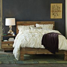 1000 ideas about rustic wood bed frame on pinterest for Furniture of america hilande rustic farmhouse dark walnut bed