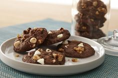 These dark chocolate cookies are studded with white chocolate chips and have a burst of peppermint flavor.