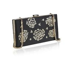 Ladies Beautiful Black Sequin Floral  Clutch Bag with Chain Evening / Weddings £19.95
