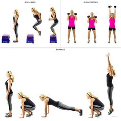 crossfit workout of box jumps, push presses, and burpees