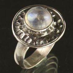 Natural RAINBOW MOONSTONE Gemstone 925 Sterling Silver Vintage Ring Size US 7.75 #Unbranded