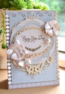 card flower flowers doilies doily labels Blomsterbox: Kort *Enjoy your day*
