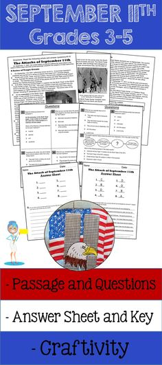 A September 11th informational text passage followed by a reading comprehension assessment followed by a brain break art/craft activity.  The perfect trio to learn about the events of 9/11.