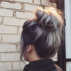 Yummy messy bun with ashy blonde and dark root drag, by Aimee @ Gray's Salon in Leeds. Get booked in by clicking through!