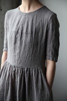 Mathilde Short Sleeve Linen Dress - Grey