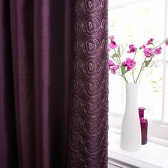 Dunelm Mill Purple Plum Rose Quilted Effect Thermal Pencil Pleat Curtains 66x54