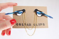 Collar Clips: Magpies by AnEnglishGarden on Etsy
