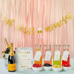 A 10 piece mimosa bar kit from Kate Aspen is the right way to get the party started. This mimosa bar kit features a gold glitter banner for above your drink station. A mimosa bar sign leads the way with drink tags label to label your juices. Brunch Party Decorations, Brunch Decor, Bridal Shower Decorations, Brunch Ideas, Party Decoration Ideas, Ideas Party, Diy Ideas, Wedding Decorations, Pastell Party