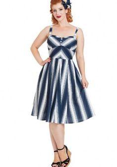 Voodoo Vixen Kayla Blue White 70's Stripe Groovy Summer Swing Dress S-2X #VoodooVixen #Swing #AnyTime