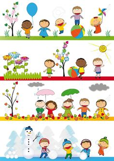 Kids in four season Vinyl Wall Mural - Seasons Seasons Activities, Preschool Activities, Preschool Printables, Weather For Kids, School Murals, School Painting, Magazines For Kids, Fathers Day Crafts, Kindergarten Classroom