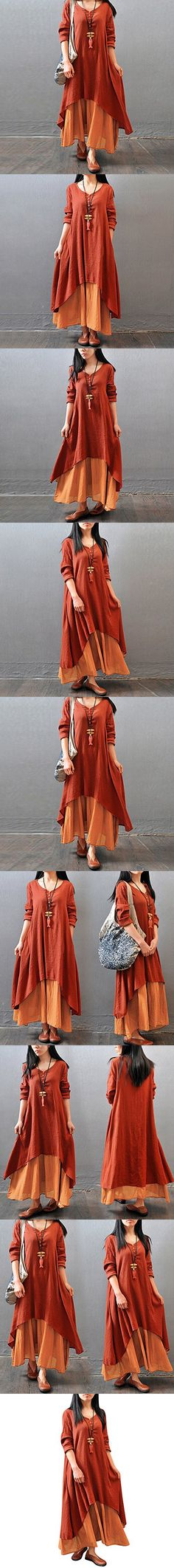 Diamondo New Women Peasant Ethnic Boho Cotton Loose Linen Long Maxi Dress (Brick-Red, Asian XL)