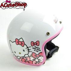 Hello Kitty Motorcycle 3/4 Helmet RETRO Polka Dot Ribbon White Sanrio