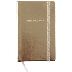 "kate spade new york ""Little Gold Book"" Medium Notebook (1.390 RUB) ❤ liked on Polyvore featuring home, home decor, stationery, stationary and metallic"