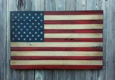 Rustic Wooden American Flag 23 X 36 inch. Made from recycled fencing B