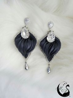 Black silk with clear crystals and rhinestones earrings