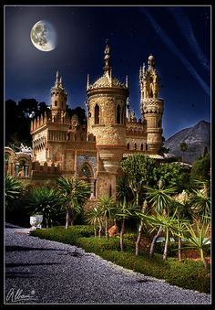 Colomares Castle, Benalmadena, Spain, combining Byzantine, Roman, Gothic and Mudejar architectural styles is a monument to Christopher Columbus by a doctor with no architectural experience and two bricklayers from 1987 to 1994.  by Albeva fotografia