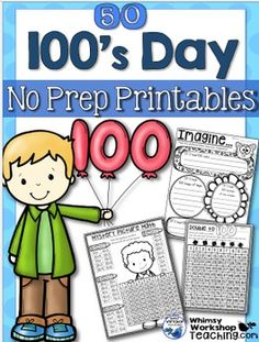 This huge packet has everything I've used to explore hundred's day with my students over the last 20 years. There are more than enough activities to last for the entire week, and most can be used any time of the year as well! They are perfect for math workbooks, math centers, or even home practice.There are multiple choices for both literacy and math activities, as well as art and creative thinking projects.