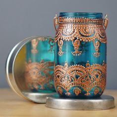 Moroccan Lantern Inspired Mason Jar Lantern, Hand Painted Teal Glass with Copper…