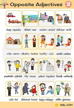 Opposites are words lying in an inherently incompatible binary relationship, like the opposite pairs big - small, long - short, etc. Below is a list of opposite adjectives you should learn to expand your vocabulary. Adjectives For Kids, Examples Of Adjectives, List Of Adjectives, Adjectives Activities, English Adjectives, English Verbs, Learn English Grammar, English Vocabulary Words, Common Adjectives