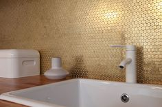 Living, dining and bedroom in 38 sqm, right in the center of Bucharest - 2000 coins stuck to the kitchen wall by designist. Bucharest, Tiles, Sink, Bathtub, Dining, Wall, Kitchen, Spaces, Bedroom