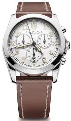 Victorinox Mens White Chronograph Dial Leather Strap Infantry Watch 241568.  This Mens Victorinox watch has a stainless steel case which is set around a white chronograph dial with luminescent hands and index, and date window. It features anti-reflection sapphire crystal and a screw-in caseback. A leather strap completes the look. Water resistant to 100M.