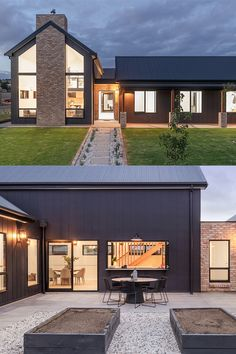 What a unique home, with the exposed brick and gabled roof! Project by Aaron Martin Constructions Modern Small House Design, Modern Barn House, Modern House Plans, House Cladding, Facade House, Aaron Martin, Gable House, House Paint Color Combination, Modern Farmhouse Exterior