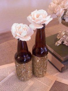 Gold glitter beer bottles