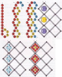 More: How to embellish vertical netting.  Once familiar with netting and some of the variations, patterns that fly by start to look much easier.  Right Angle Weave and Netting are the main popular embellished techniques now.  #Seed #Bead #Tutorials