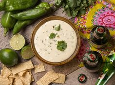 Hatch Pepper, Cilantro and Cream Cheese Dip With Chipss | by James Stiles Photography