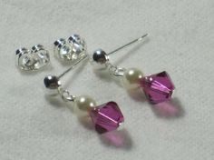 Flower Girls Dangle Bling Earrings. Many crystal colors available, hand crafted Made in USA