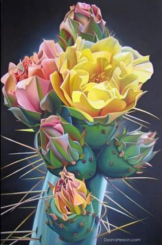 Rooted and Established in Love - Prickly Pear Cactus Blooms and Buds - Dyana Hesson Cactus House Plants, Cactus Decor, Cactus Pictures, Prickly Pear Cactus, Cactus Painting, Desert Flowers, Bloom Where You Are Planted, Desert Art, Cactus Y Suculentas