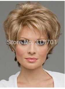 Natural Blonde mix Straight Short Wig For Woman None Lace Wigs Free shipping