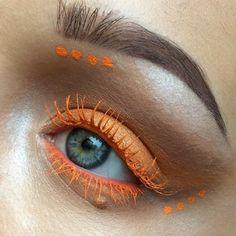 Who is loving this simple orange mascara design? More on the makeup artist here: http://blog.furlesscosmetics.com/makeup-art-nerissa-koklamanis/