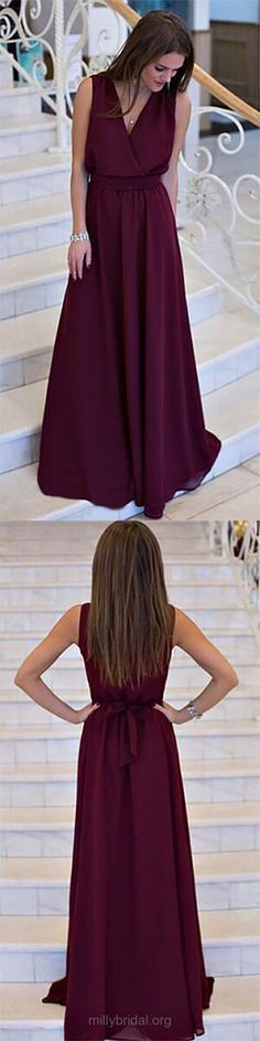 Long Prom Dresses, 2018 Prom Dresses For Teens, A-line Prom Dresses V-neck, Chiffon Prom Dresses Sashes / Ribbons, Modest Prom Dresses For Cheap #longpromdresses