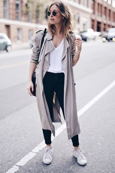 Get this look: http://lb.nu/look/8140647 More looks by Jillian Lansky: http://lb.nu/theaugustdiaries Items in this look: Zara T Shirt, Trench #streetstyle #duster #stansmith #rayban #blackjeans