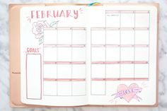 Miss louie february bullet journal monthly and weekly spread 2018 bujo inspiration layout ideas Bullet Journal Junkies, Bullet Journal Inspo, Bullet Journal Ideas Pages, Bullet Journal Layout, Journal Prompts, Journals, Bujo Monthly Spread, Bullet Journal Monthly Spread, Weekly Spread